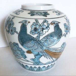 Vintage Gold Imari Blue Pheasant Ginger Jar